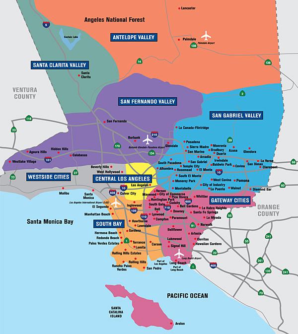 La County Map Los Angeles